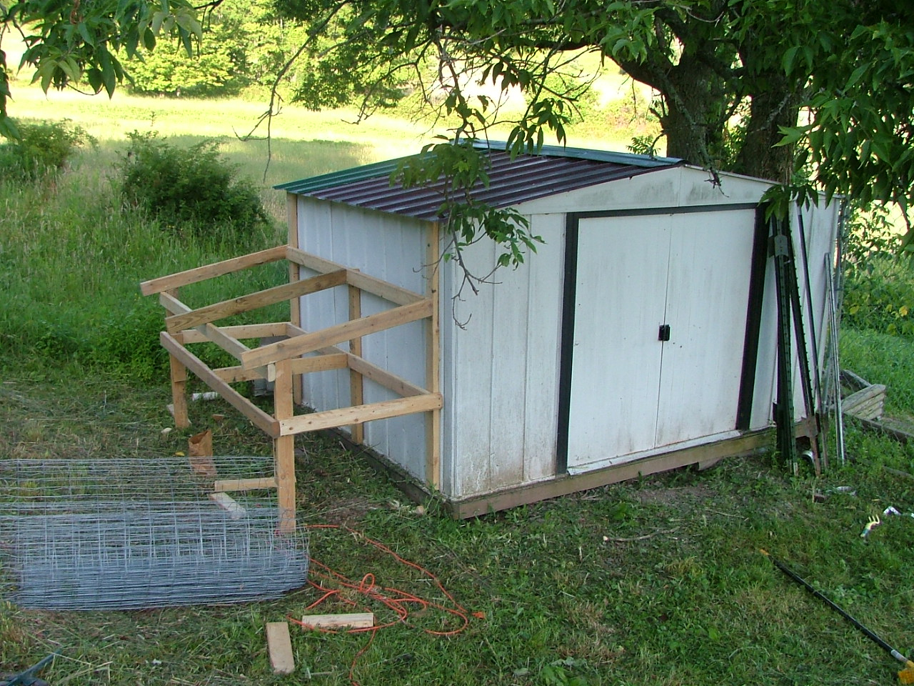 Chicken coop made from garden shed noled for Homemade chicken house